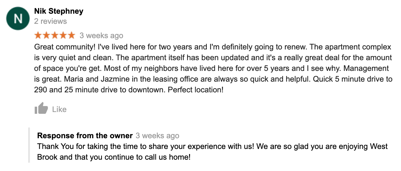 2 Bedroom Apartment in Houston Recent Five Star Review
